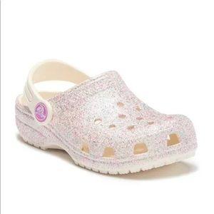 CROCS Girls Classic Glitter Slip On Shoes Oyster 9
